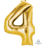 """Number 4 Gold SuperShape Foil Balloons 26""""/66cm w x 34""""/86cm h P50 - 5 PC"""