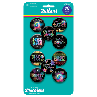 70s Disco Badges/Buttons 4.2cm - 12 PKG/10