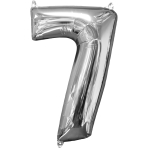 "Number 7 Silver SuperShape Mid-Size Foil Balloons 17""/43cm w x 26""/66cm h P31 - 5 PC"