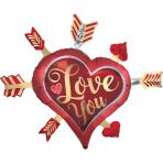 "Satin Infused Love You Arrows SuperShape Foil Balloons 34""/86cm x 28""/71cm P35 - 5 PC"