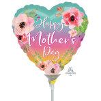 Flowers Ombre Mother's Day Mini Foil Balloons A15 - 5 PC
