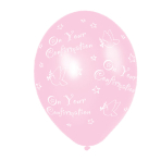 Confirmation Pink Latex Balloons -  (All Over Print) - 27.5cm - 6 PKG/25