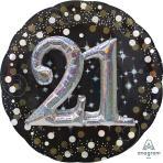 "Gold Sparkling Celebration 21st Multi Foil Balloons 36""/91cm P75 - 5 PC"