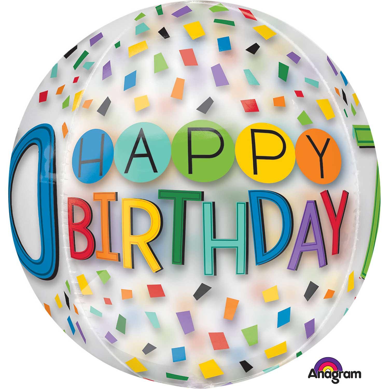 Rainbow Happy 70th Birthday Clear Orbz Foil Balloons 15 38cm W X 16 40cm H G20