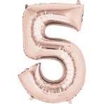 "Number 5 Rose Gold SuperShape Foil Balloons 23""/58cm w x 34""/86cm h P50 - 5 PC"