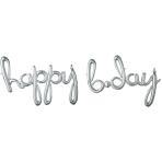 """Happy Bday"" Script Phrase Silver Foil Balloons 35""/88cm x 25""/63cm G40 - 5 PC"