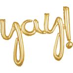 """Yay!"" Script Phrase Gold Foil Balloons 35""/88cm x 25""/63cm G40- 5 PC"