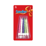 10 Glitter Candles with Holders - 6.3cm 12 PKG