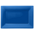 Bright Blue Plastic Serving Platters - 6 PKG/3