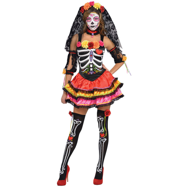Day of the Dead Girls Fancy Dress Skeleton Bones Halloween Childrens Kid Costume