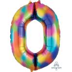 """Number 0 Rainbow Splash SuperShape Foil Balloons 26""""/66cm w x 35""""/88cm h P50 - 5 PC"""