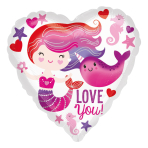 Mermaid and Narwhal Love Standard HX Foil Balloons S40 - 5 PC
