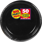 Jet Black Plastic Plates 18cm - 6 PKG/50