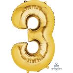 """Number 3 Gold SuperShape Foil Balloons 22""""/55cm w x 34""""/86cm h P50 - 5 PC"""