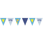 On your Christening Day Blue Foil Pennant Banners 3.96m - 6 PC