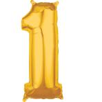 """Number 1 Gold SuperShape Mid-Size Foil Balloons 11""""/27cm w x 26""""/66cm h P31 - 5 PC"""