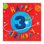 Blast Off 3rd Birthday Luncheon Napkins 33cm - 12 PKG/16