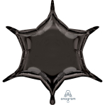 "Metallic Black 6 Point Star Standard Unpackaged Foil Balloons w x 20""/50cm h D32 - 3 PC"