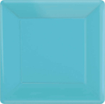 Caribbean Blue Square Paper Plates 18cm - 6 PKG/20