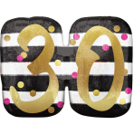 """Pink & Gold 30th Birthday Holographic SuperShape Foil Balloons 25""""/63cm x 20""""/50cm P40 - 5 PC"""