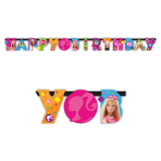 Barbie Sparkle Happy Birthday Letter Banner 1.6m x 11cm - 6 PKG