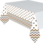 Mixed Metals Chevron Plastic Tablecovers 1.37m x 2.6m - 6 PC
