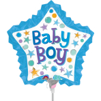 Baby Boy Star with Ruffle Mini Shape Foil Balloons A30 - 5 PC