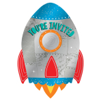 Blast Off Birthday Postcard Invitations with Stickers - 6 PKG/8