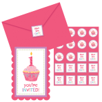 Sweet Little Cupcake Girl Postcard Invitations, Stickers & Envelopes - 11.4cm x 15.8cm - 6 PKG/8