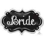 "Bride Chalkboard Marquee SuperShape Foil Balloons 11""/27cm w x 34""/86cm h - P35 5 PC"