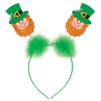 St. Patrick's Day Glitter Leprechaun Head Boppers 26cm x 11cm - 12 PC