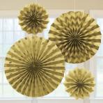 Gold Glitter Paper Fans - 6 PKG/4