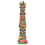 Tiki Jointed Totem Pole Cut-outs 2m - 9 PC
