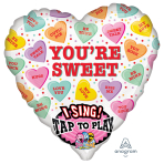 """Sweet Candy Hearts Sing-a-Tune Foil Balloons 29""""/74cm w x 29""""/74cm h P60  - 5 PC"""