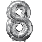 "Number 8 Silver SuperShape Mid-Size Foil Balloons 18""/45cm w x 26""/66cm h P31 - 5 PC"