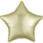 Pastel Yellow Star Satin Luxe Standard HX Packaged Foil Balloons S15 - 5 PC