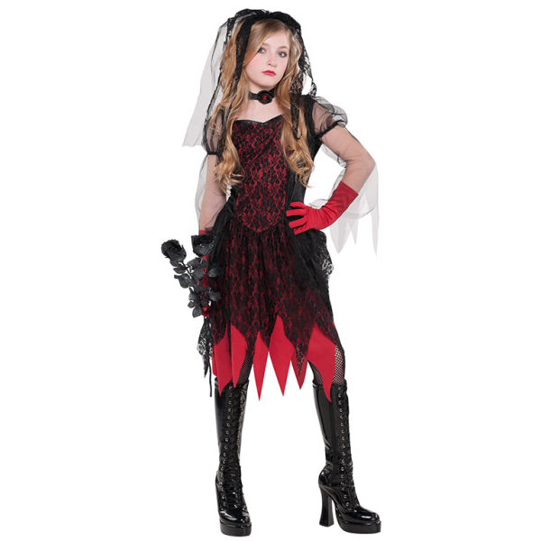 AGE 8-10 YEARS NEW Girls Goth Prom Queen Halloween Costume FANCY DRESS OUTFIT