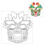 Chinese New Year Colour your own Dragon Mask - 6 PKG/4