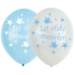 "Communion Church Blue Latex Balloons 11""/27.5cm - 6 PKG/6"