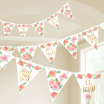 Floral Baby Pennant Banners 4.57m - 12 PC