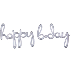 """Happy Bday"" Silver Holographic Script Phrase Foil Balloons P70 - 5 PC"