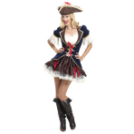 Adults Captain Buccaneer Pirate Costume - Size 10-12 - 1 PC