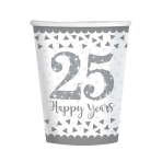 Sparkling Silver Anniversary Paper Cups 266ml - 6 PKG/8