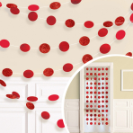 Apple Red Glitter String Decoration 2.13m - 6 PKG/6