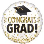 Congratulations Grad Gold Glitter Standard Foil Balloons S40 - 5 PC