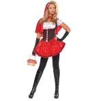 Adults Red & Black Riding Hood Costume - Size 10-12 - 1 PC