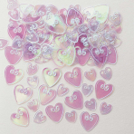 Loving Hearts Iridescent Embosed Metallic Confetti 14g - 12 PKG