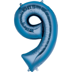 """Number 9 Blue Minishape Foil Balloons 16""""/""""40cm A04 - 5 PC"""