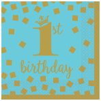 1st Birthday Boy Gold Beverage Napkins 25cm - 12 PKG/16