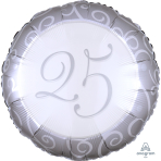 Silver 25th Anniversary Standard Foil Balloons S40 - 5 PC